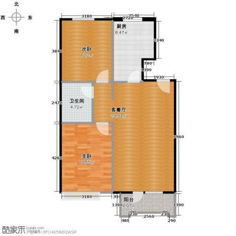 保利花园2室1厅1卫1厨97.00㎡户型图