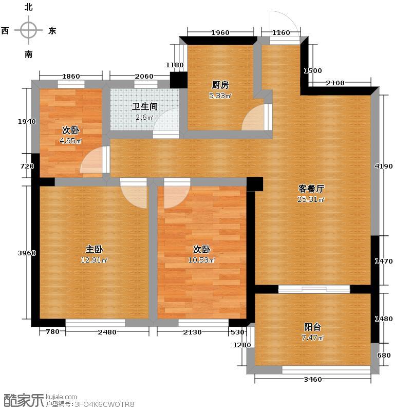 圣联梦溪小镇98.00㎡2#050户型3室2厅1卫