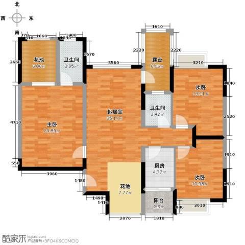 里水第一城3室2厅2卫0厨117.00㎡户型图