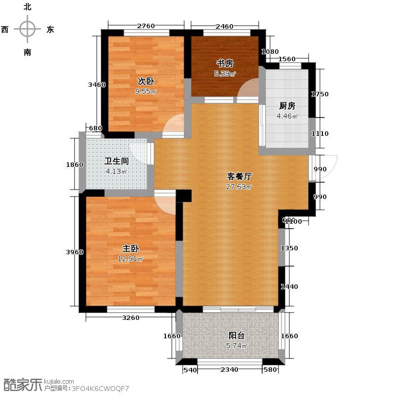 圣联梦溪小镇98.00㎡2#030户型3室2厅1卫
