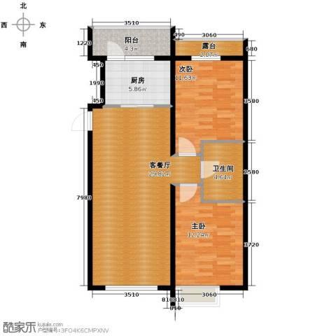 富达蓝山2室1厅1卫0厨70.57㎡户型图
