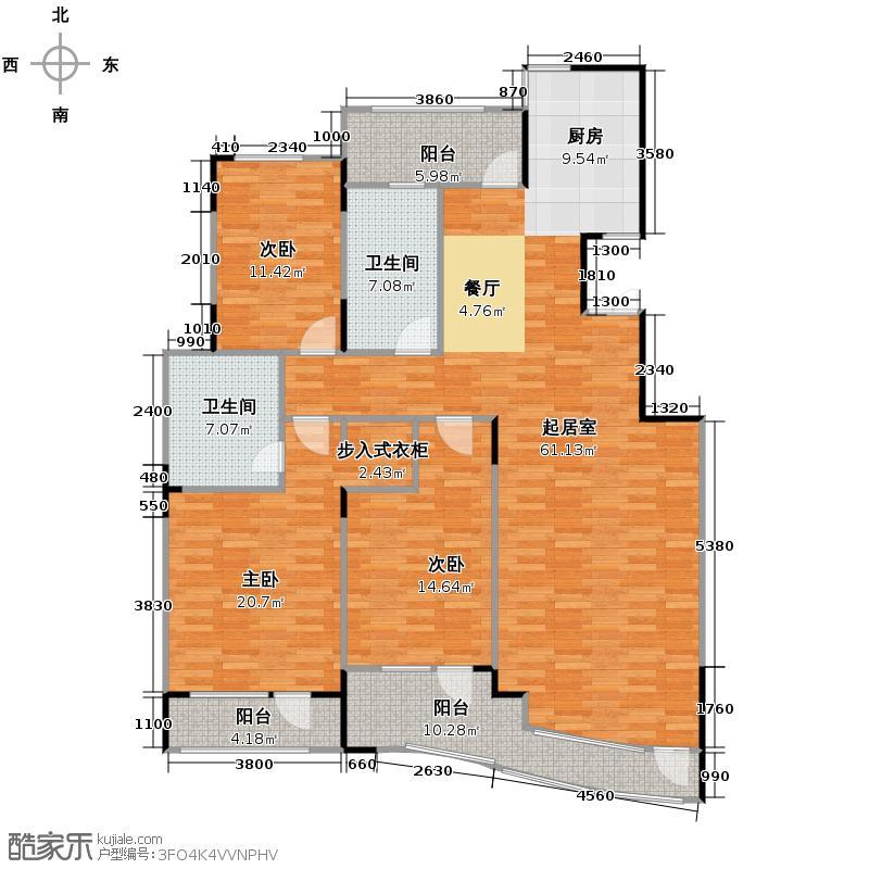 春江花月潇湘苑163.00㎡户型3室2卫