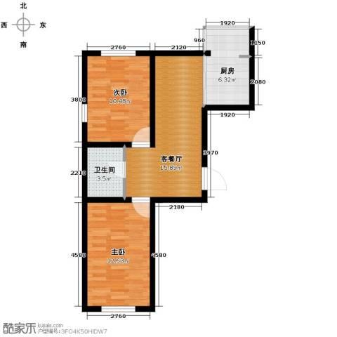 迅驰净月大学城2室1厅1卫1厨56.26㎡户型图