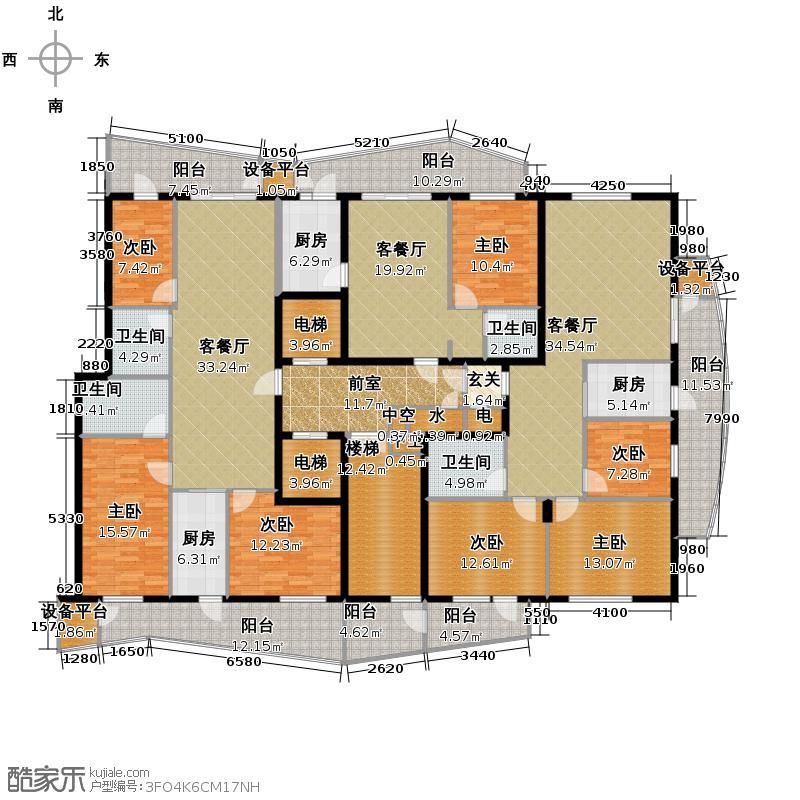 滨江国际330.56㎡B2栋1单元10-18层户型10室