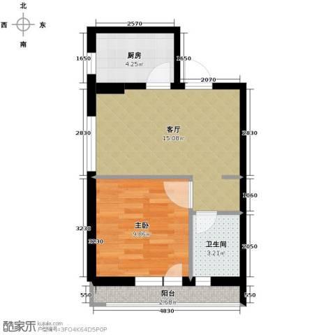 漾日华庭1室1厅1卫1厨52.00㎡户型图