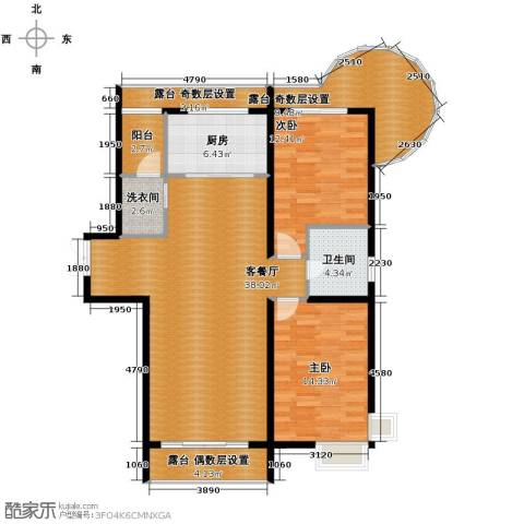 富达蓝山2室2厅1卫0厨97.59㎡户型图