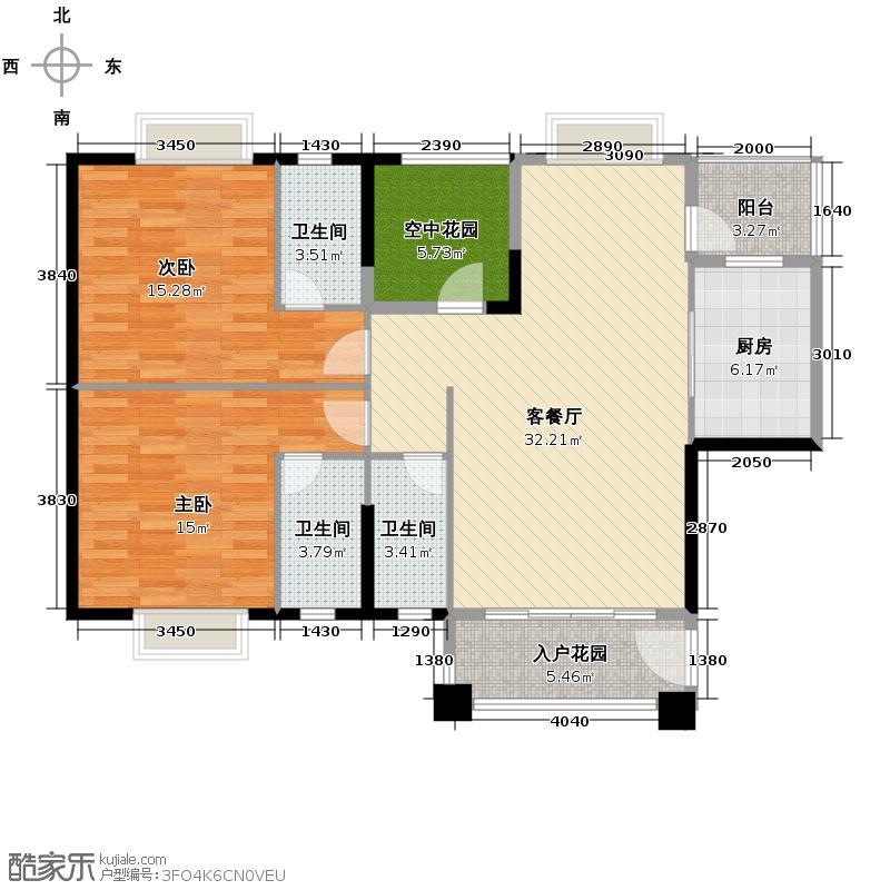 中恒广场113.00㎡9座01单位户型3室2厅3卫