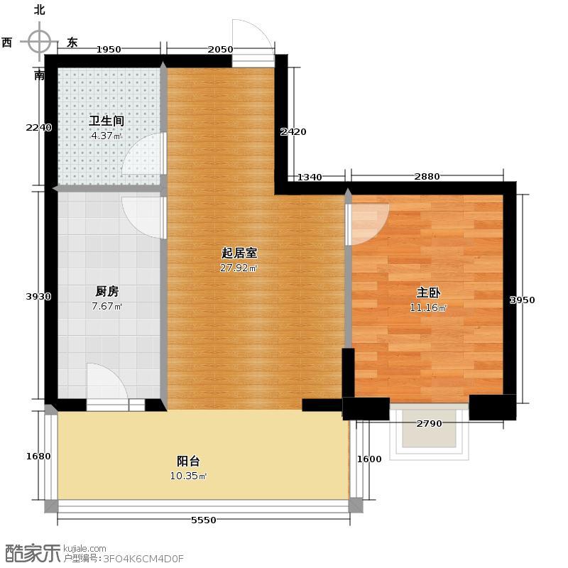 好民居滨江新城41.46㎡二期A10座户型1室1厅1卫