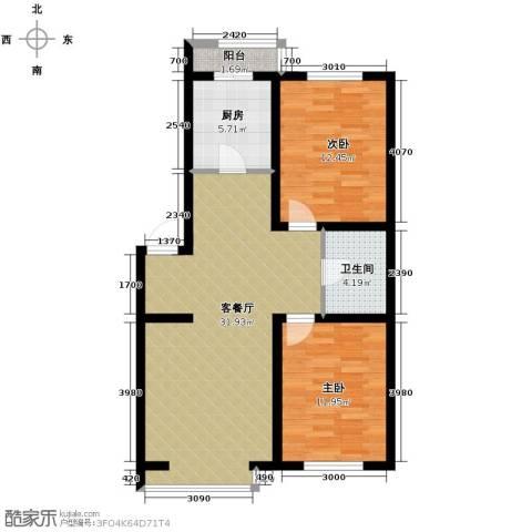 漾日华庭2室1厅1卫1厨91.00㎡户型图