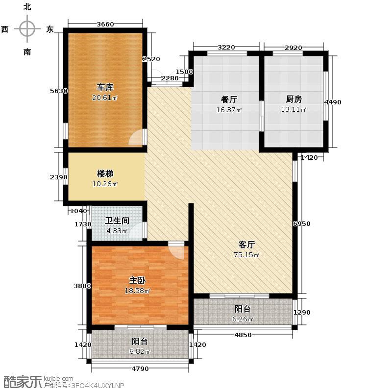 湖光山社419.00㎡独栋D1一层户型1室1厅1卫1厨