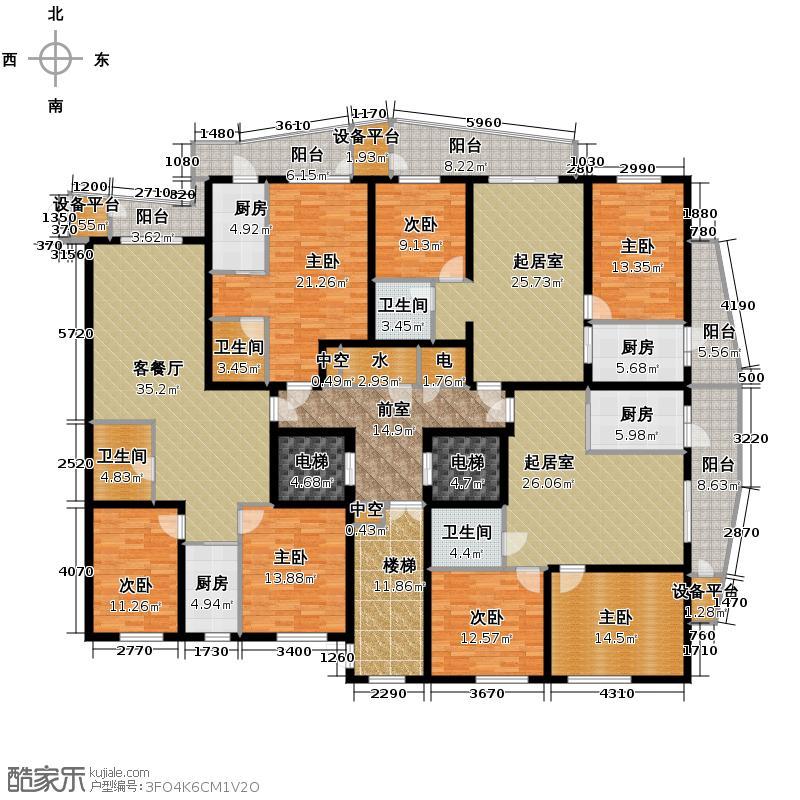 滨江国际341.91㎡B1栋1单元19-45层户型10室