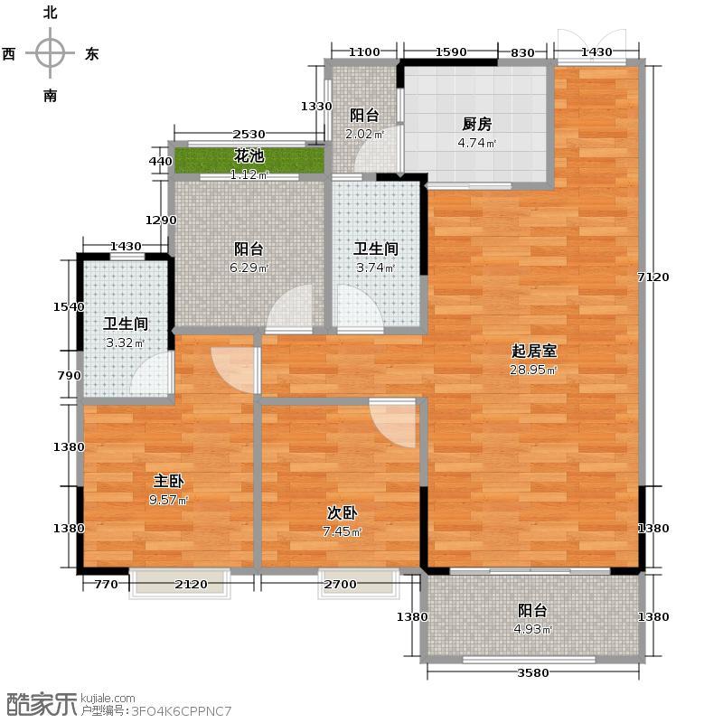 美立方花园94.00㎡一栋2座01单元户型2室2卫1厨