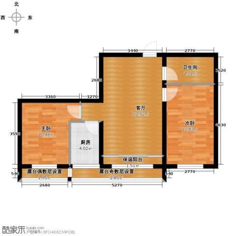 富达蓝山2室1厅1卫0厨58.28㎡户型图