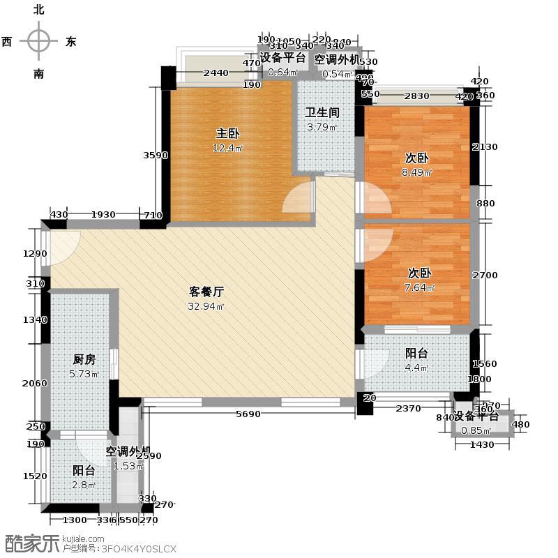招商雍华府95.00㎡3期8号楼B1(b)户型3室1厅1卫1厨