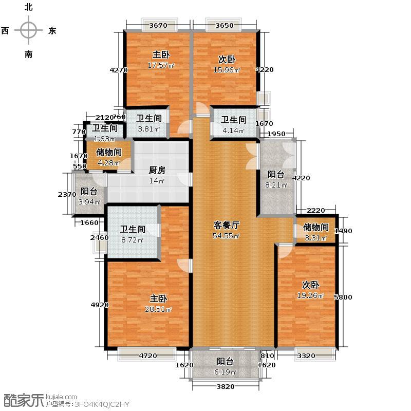 南城都汇二期123.50㎡户型4室1厅4卫1厨