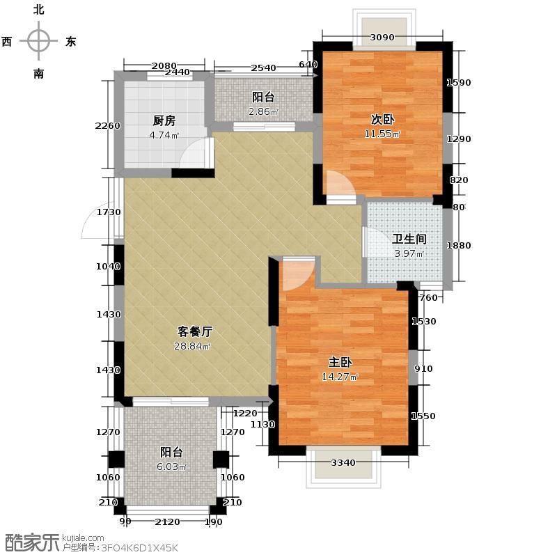 皇马花园93.00㎡小高层F4户型2室1卫1厨