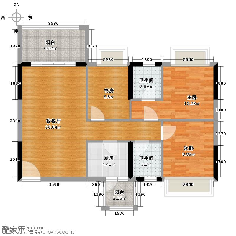 凯欣名苑89.46㎡3栋2梯6-13层01户型3室2厅2卫