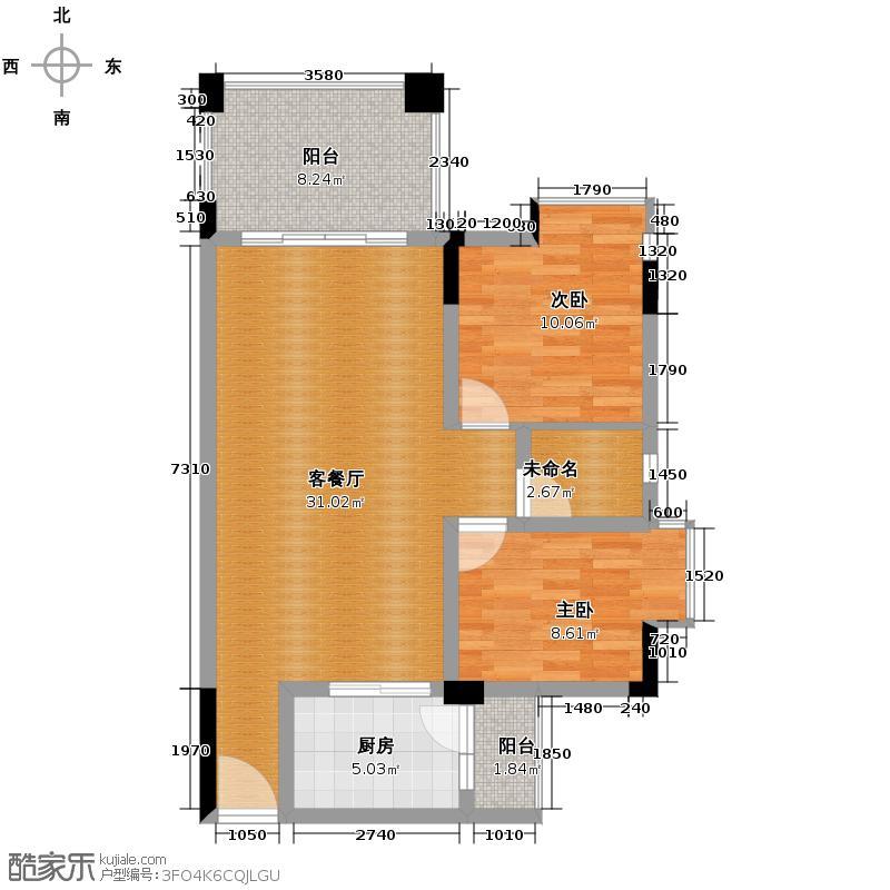 劲嘉金棕榈园83.63㎡1栋A座02单位户型2室2厅1卫