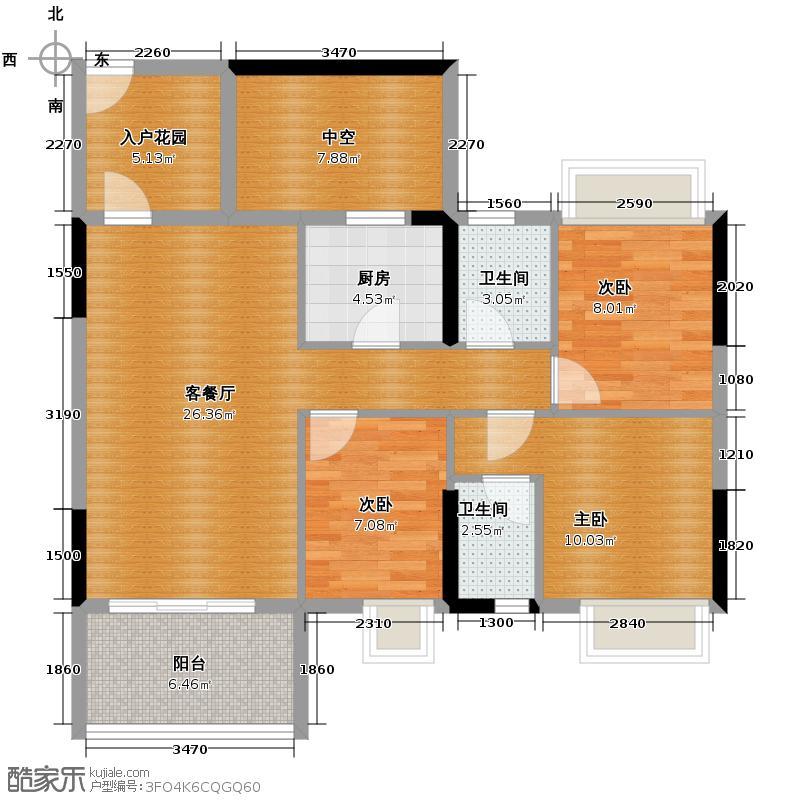 凯欣名苑92.29㎡3栋2梯6-13层02户型3室2厅2卫