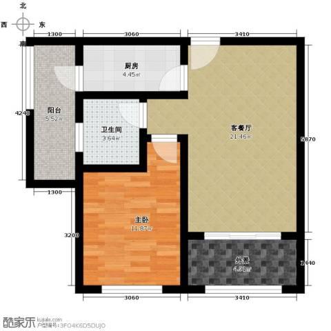 保亭上观园1室2厅1卫0厨60.00㎡户型图