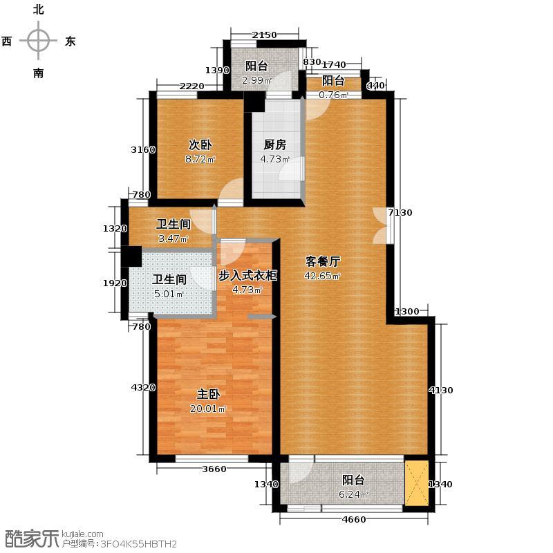领秀新硅谷108.15㎡豪华两居1F户型2室1厅2卫1厨