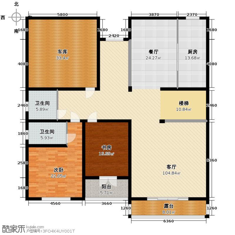湖光山社561.00㎡独栋D7一层户型2室1厅2卫1厨