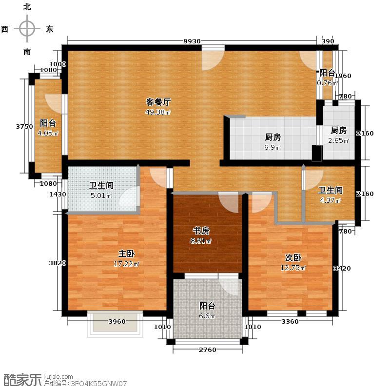 领秀新硅谷127.41㎡洋房转角2层01户型3室1厅2卫1厨