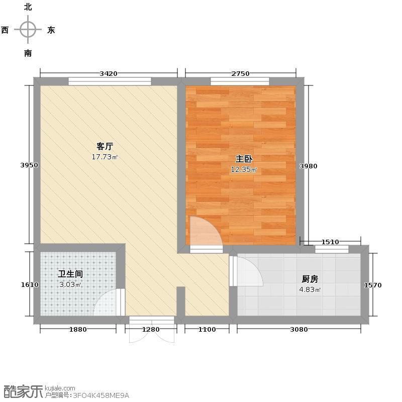 汇锦城54.00㎡晟地丽江R户型1室1厅1卫1厨
