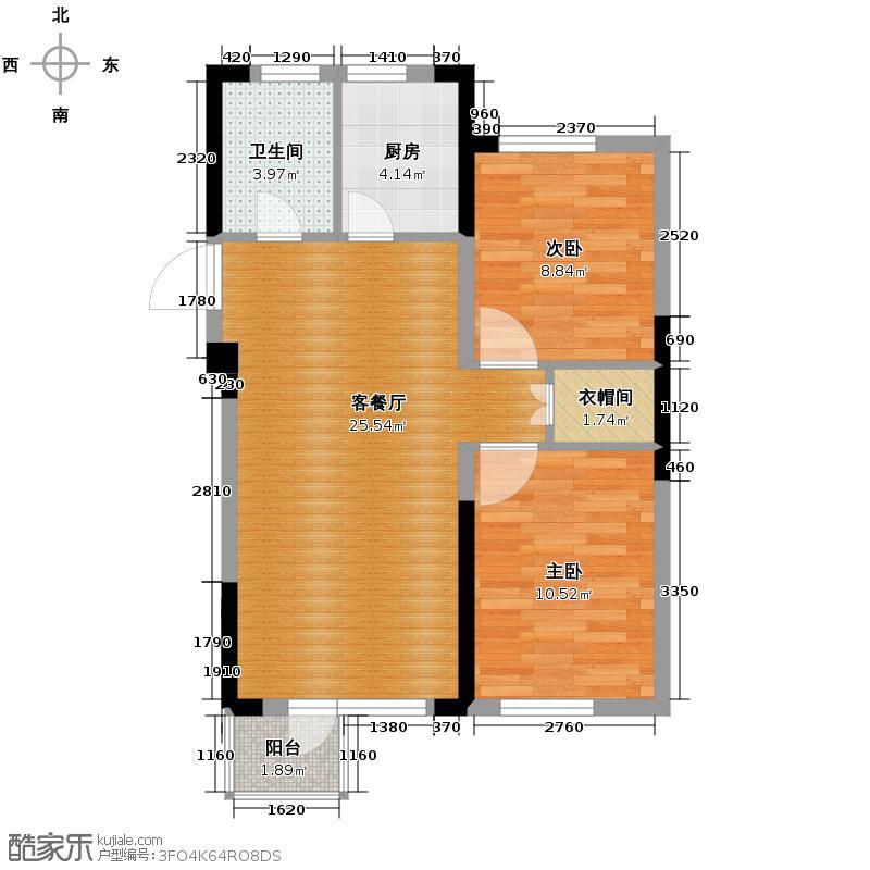 泰莱16区64.30㎡13#奇数层A户型2室1厅1卫1厨