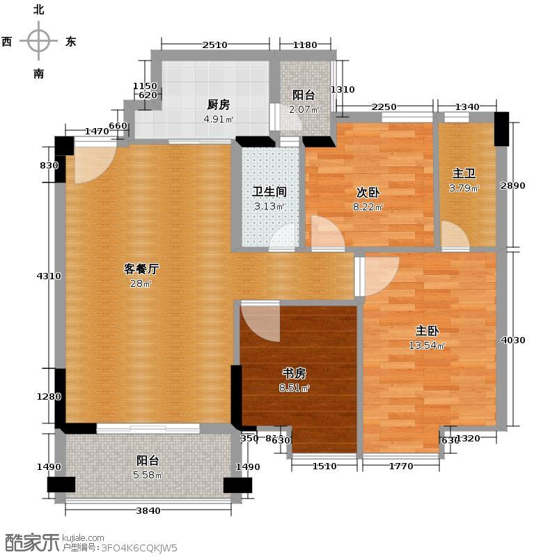 劲嘉金棕榈园89.00㎡2栋03/04单位户型3室2厅2卫