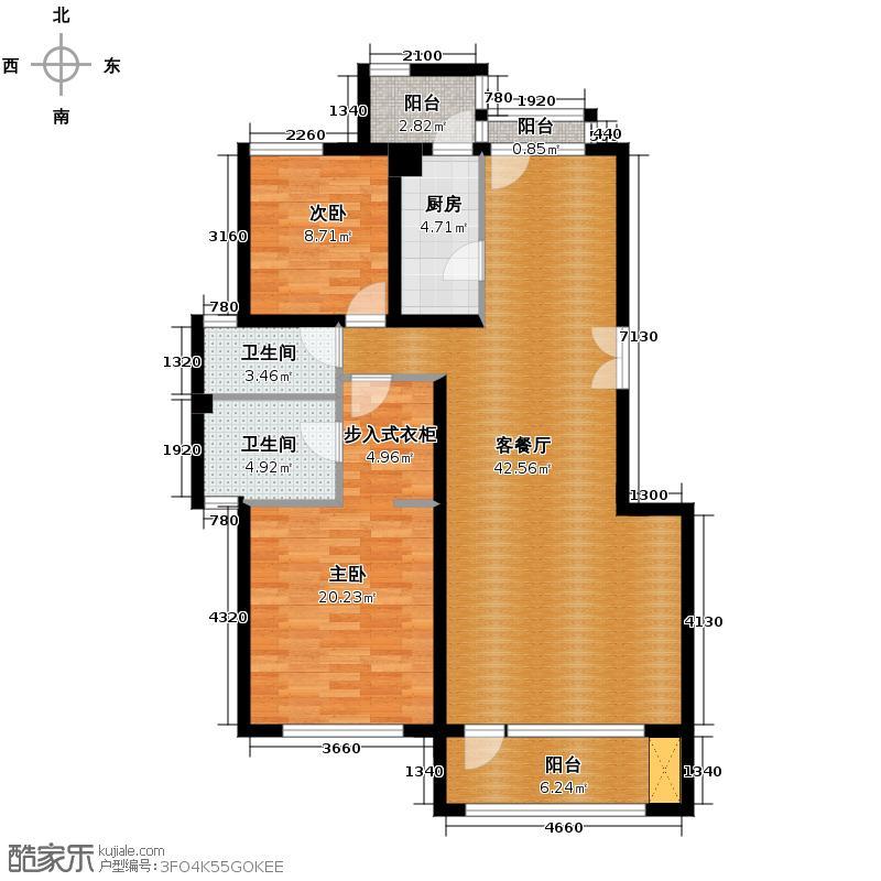 领秀新硅谷108.09㎡豪华两居5F户型2室1厅2卫1厨