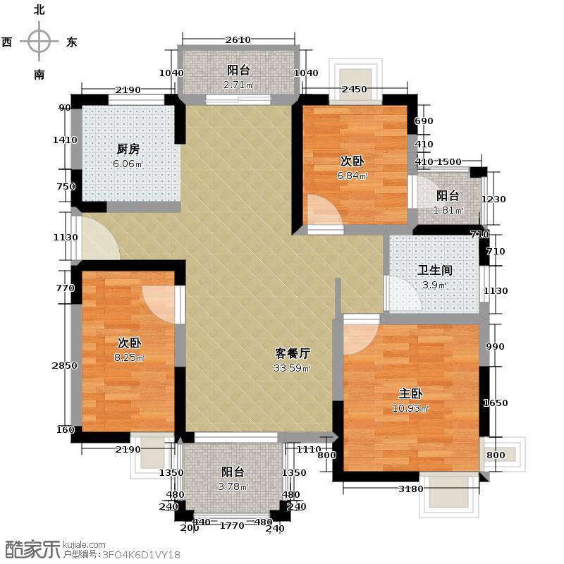 皇马花园81.99㎡小高层F1a户型3室1厅1卫