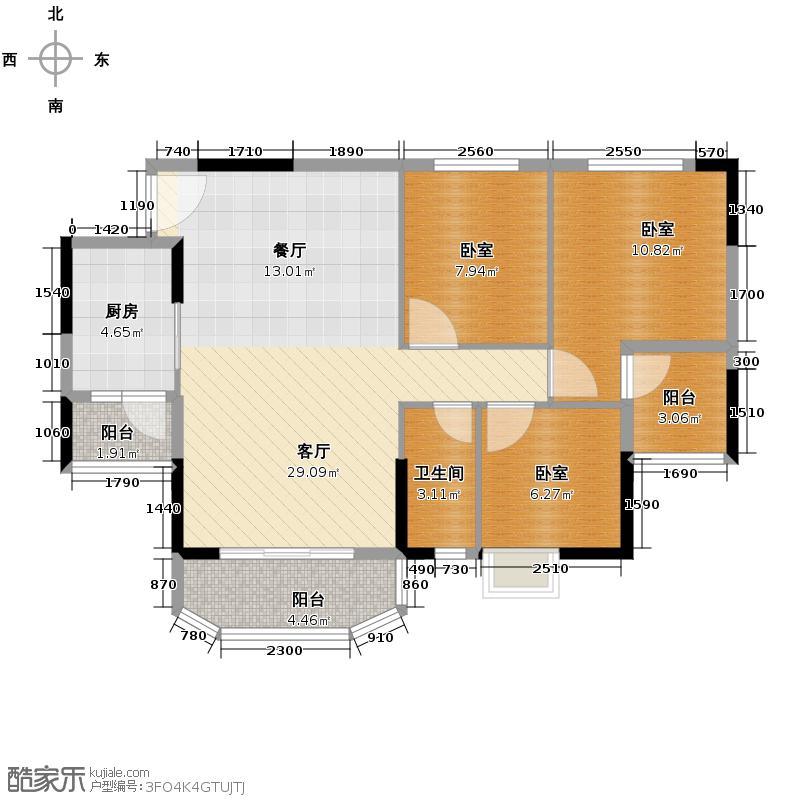 上林苑91.00㎡20栋1、2座03单位户型1厅1卫1厨