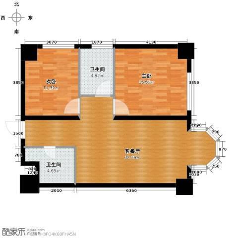 中海国际公寓2室1厅2卫0厨103.00㎡户型图