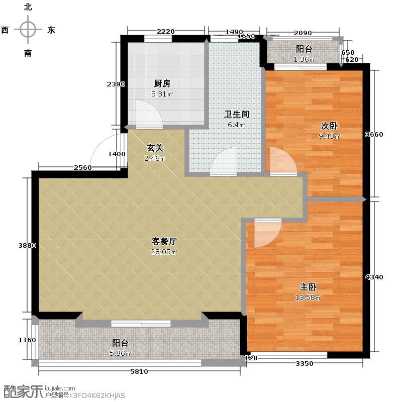 蔚蓝公寓89.00㎡户型2室1厅1卫1厨