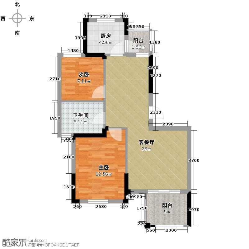皇马花园83.33㎡G10户型2室1厅1卫1厨