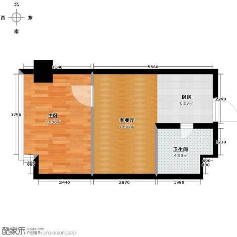 中海国际公寓1室1厅1卫0厨44.00㎡户型图