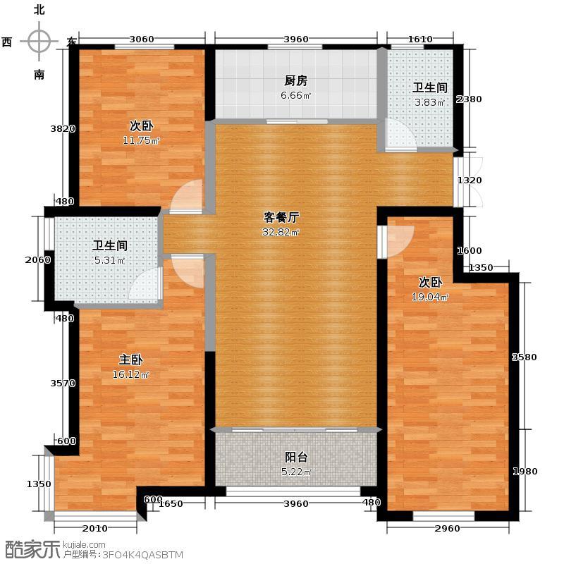 银滩雅苑132.37㎡N户型3室1厅2卫1厨