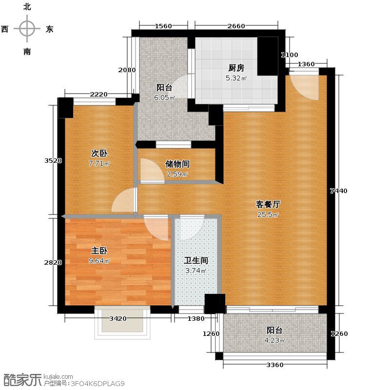 狮山阳光嘉园80.06㎡城宇名轩6座2-10层03户型2室2厅2卫