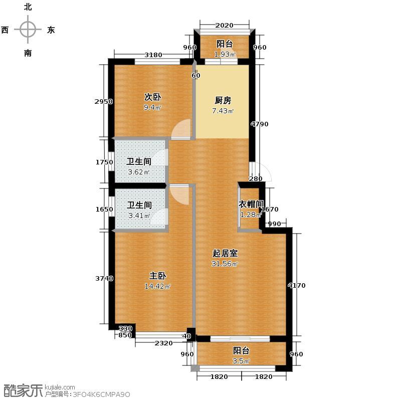 福宏名城80.89㎡户型2室2厅2卫