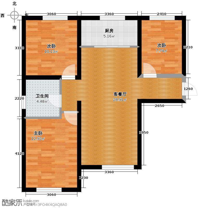 海亮·滨河壹号95.00㎡C户型3室1厅1卫1厨