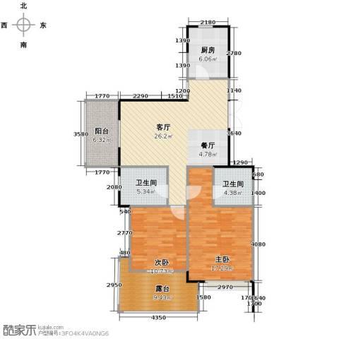 金域兰庭2室1厅2卫1厨91.00㎡户型图