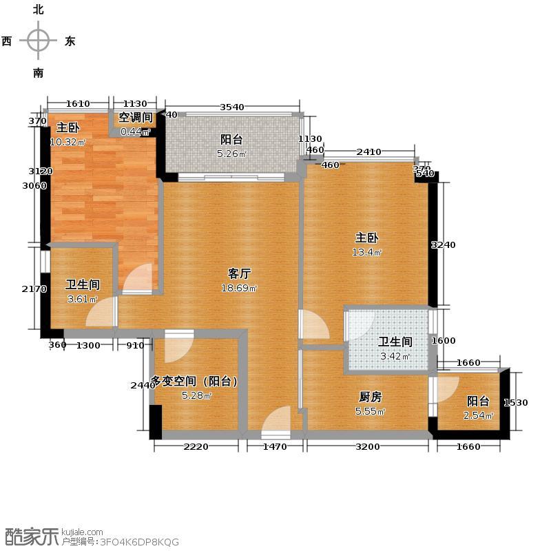 领地海纳公馆83.50㎡2栋3栋02单位户型2室1厅2卫1厨