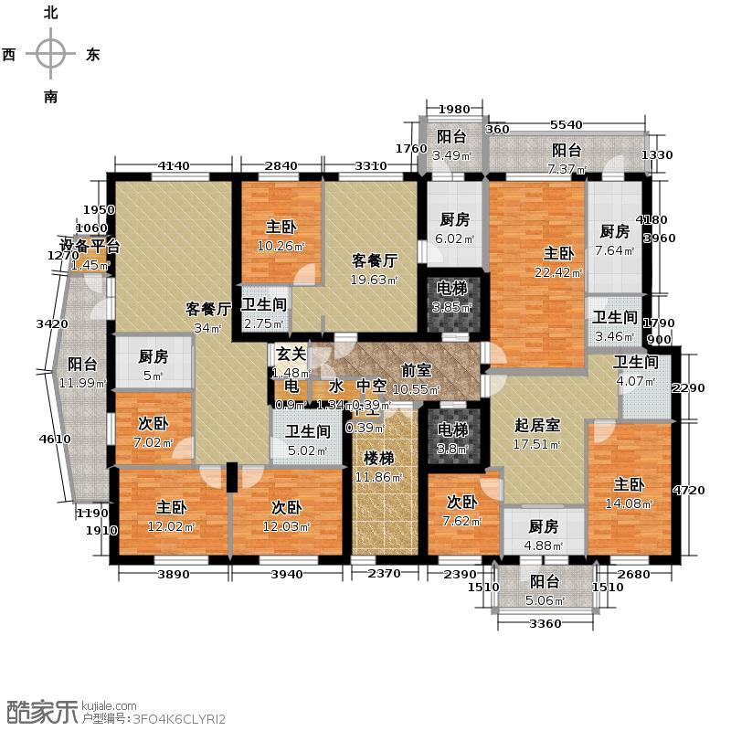 滨江国际301.33㎡B2栋3单元3层户型10室