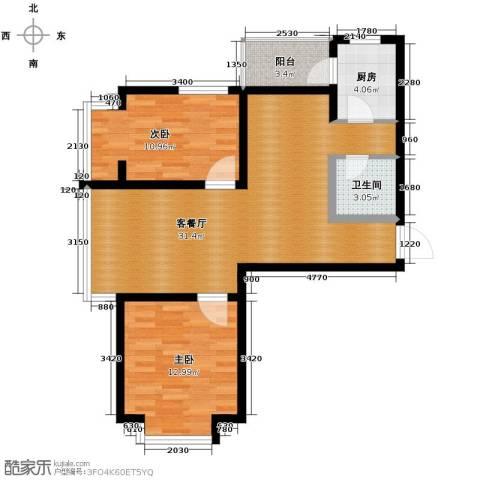 中海国际公寓2室1厅1卫1厨103.00㎡户型图