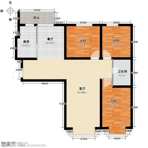 中海国际公寓3室1厅1卫1厨144.00㎡户型图