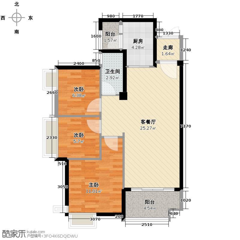 上林苑80.30㎡6栋1座02单位户型3室2厅1卫