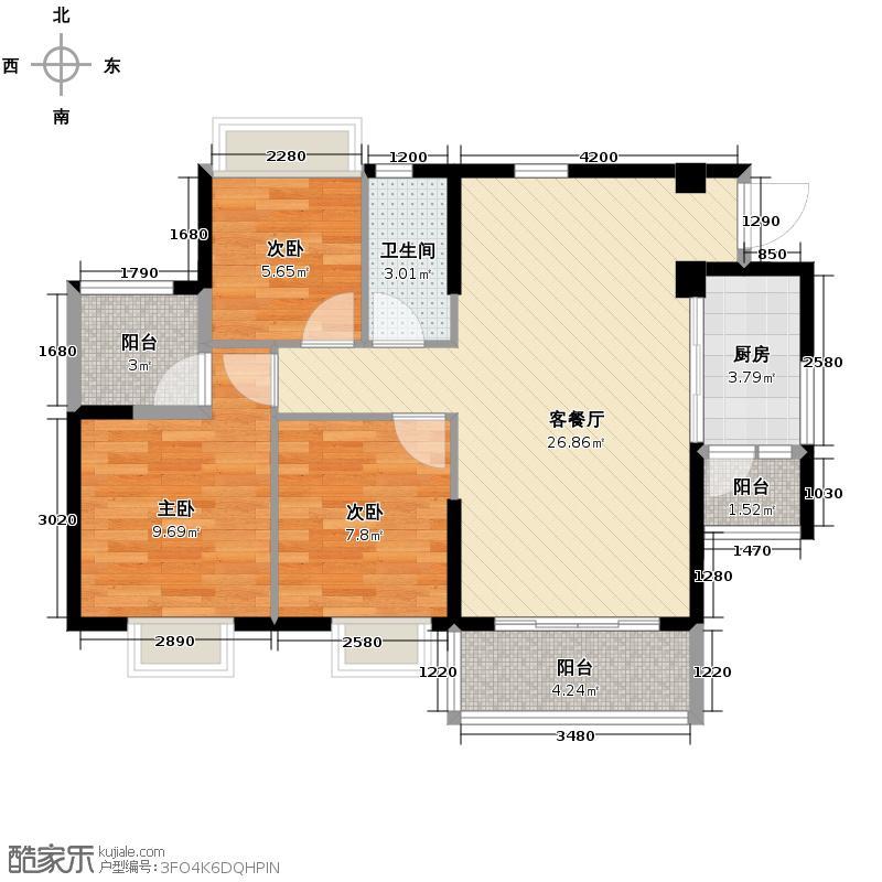 上林苑89.90㎡6栋2座03单位户型3室2厅1卫