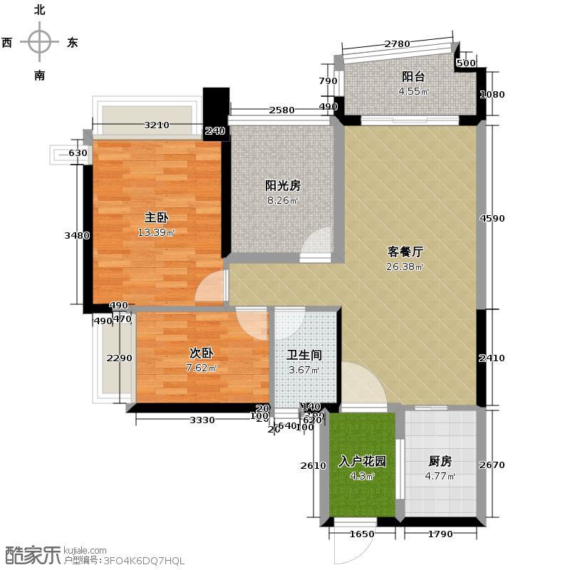 雅居乐御景名门90.00㎡1栋04单元户型2室1厅1卫1厨