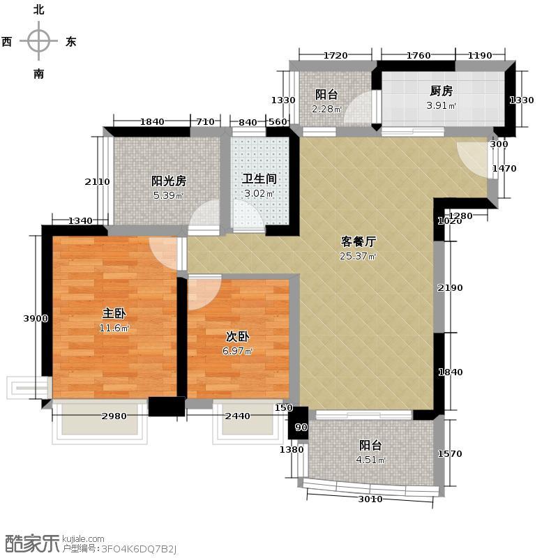 雅居乐御景名门90.00㎡7-9栋01/02/04/05单位户型2室1厅1卫1厨